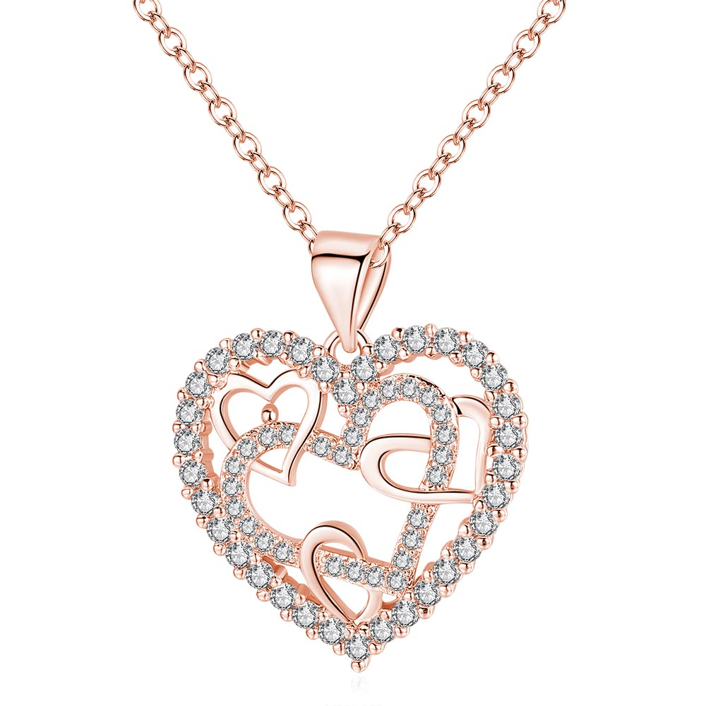 For Mom - Interlocking Rose Gold Heart Necklace
