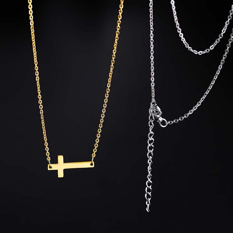 Inspirational Sideways Cross Necklace