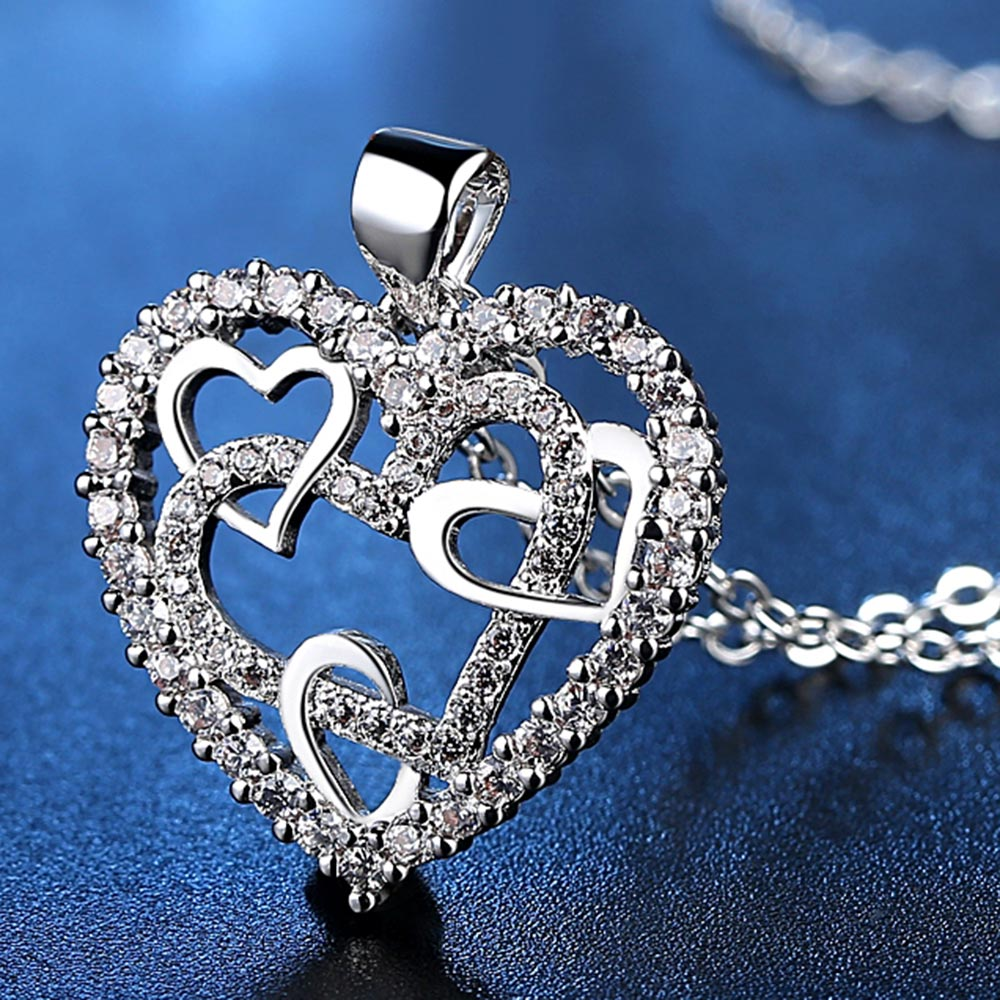 For Grandma - Interlocking Rose Gold Heart Necklace