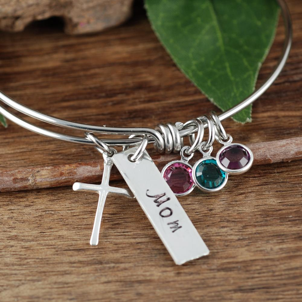 Spiritual Birthstone Cross Bracelet w/ Name Tag