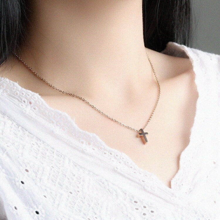 Gold Cross Confirmation Necklace for Goddaughter