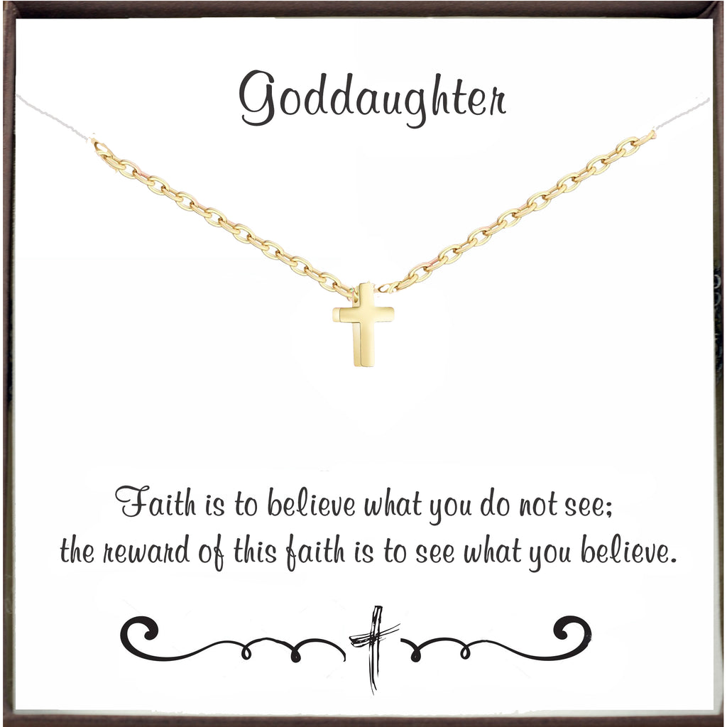 Dainty Cross Necklace for Goddaughter