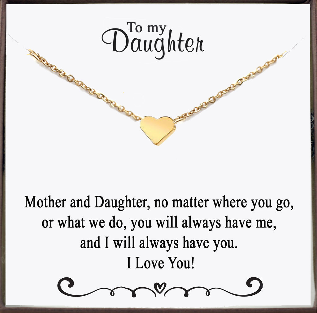 Gold Heart Necklace for Daughter