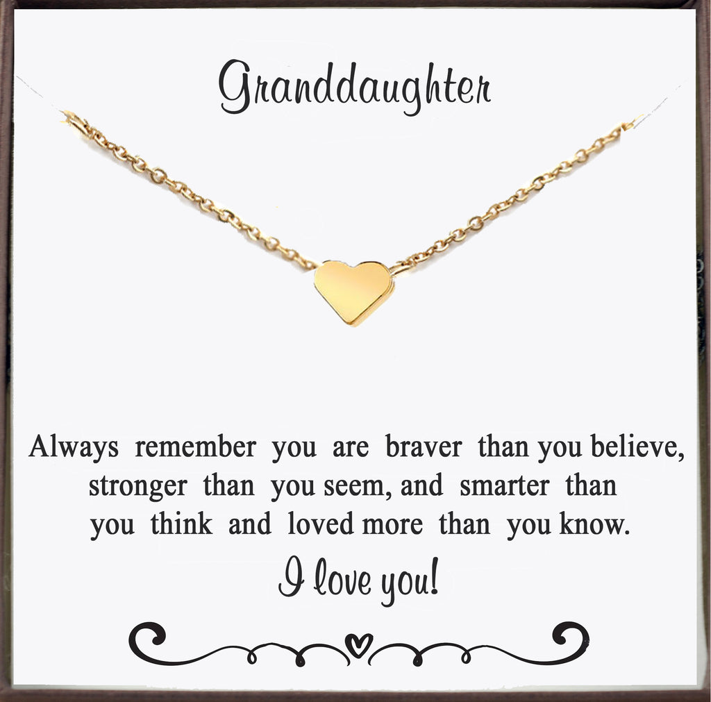 Gold Heart Necklace for Granddaughter