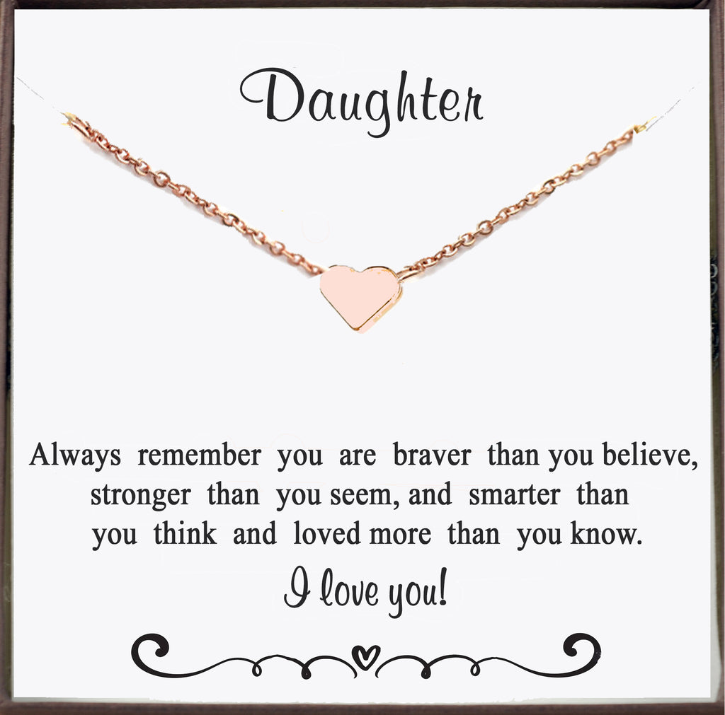 Rose Gold Heart Necklace for Daughter