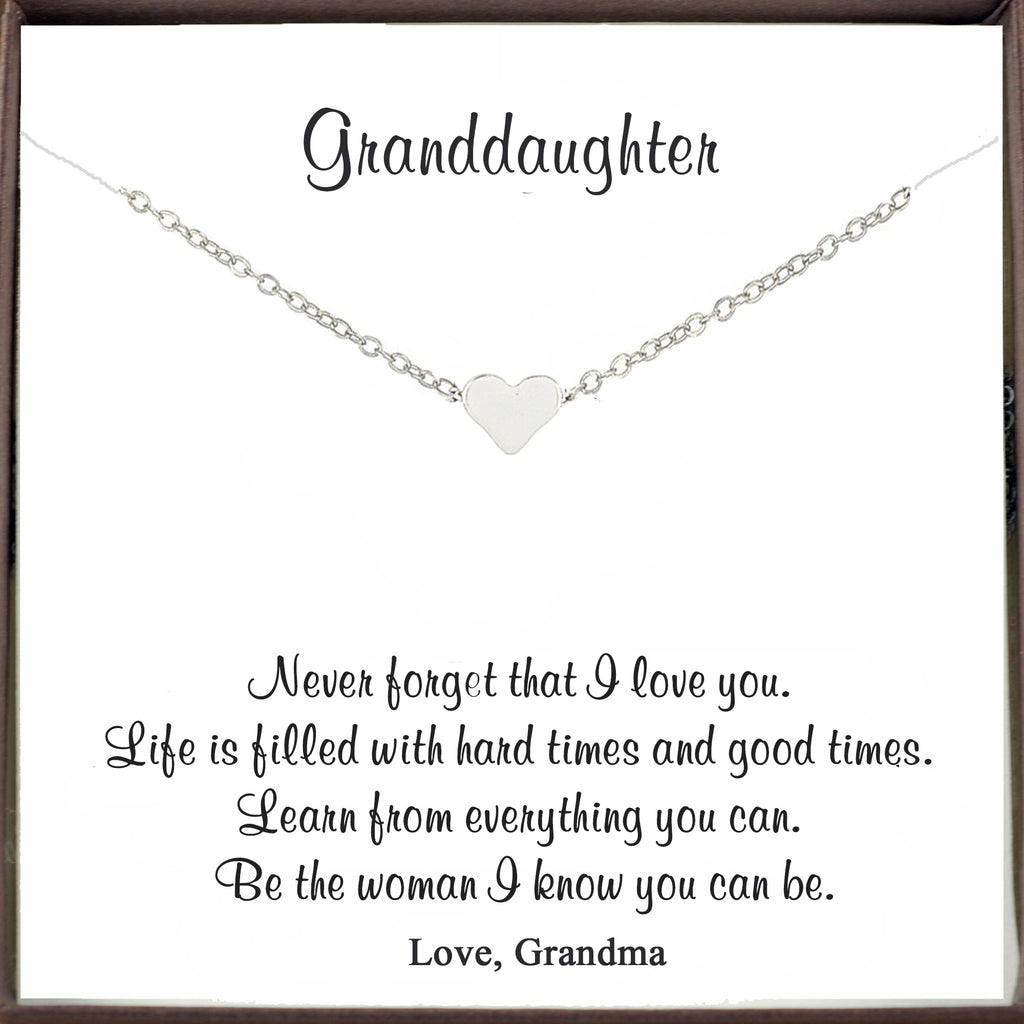 Silver Heart Necklace for Granddaughter
