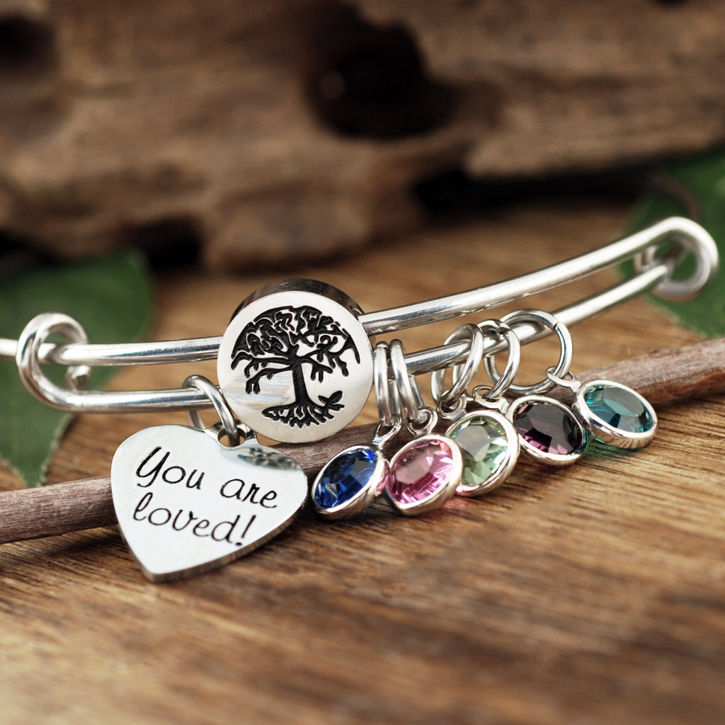Family Tree Birthstone Bracelet for Grandma or Mom
