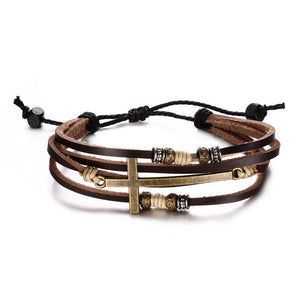Genuine Leather Jesus Cross Bracelet