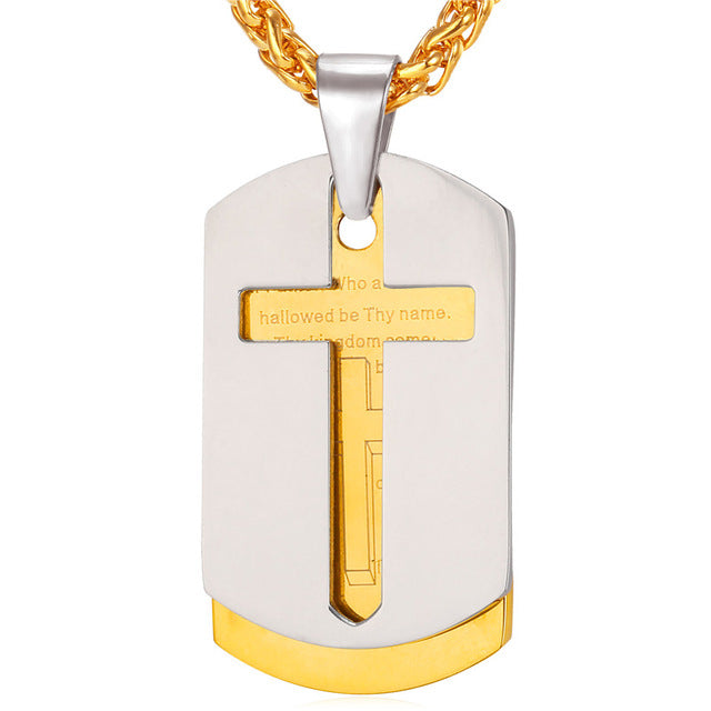 Gold Bible Tags Necklace