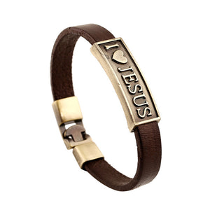 I Love JESUS Leather Cross Bracelet