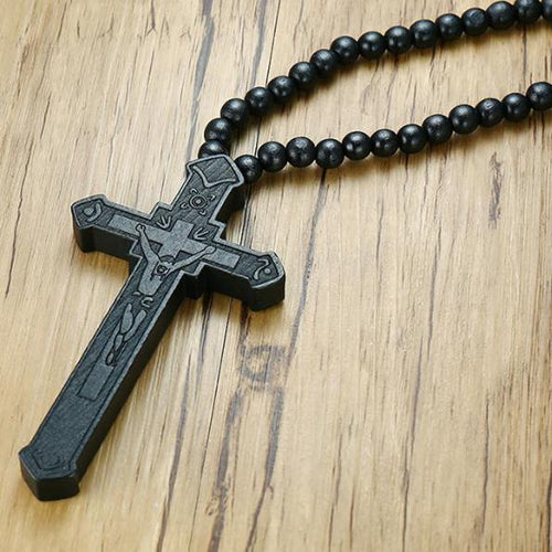 Deluxe Wood Jesus Rosary Necklace