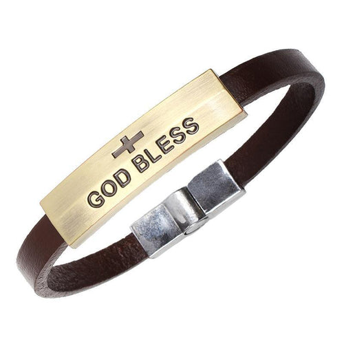 Vintage  Leather GOD BLESS Bracelet