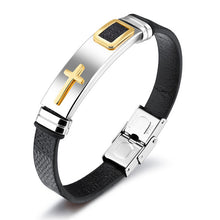 Gold Cross Leather Bracelet