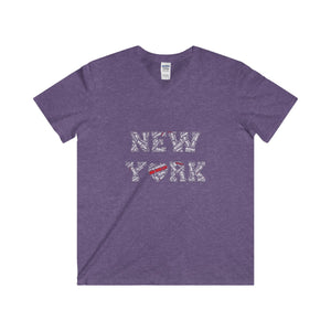 """New York"" Men's Fitted V-Neck Tee"