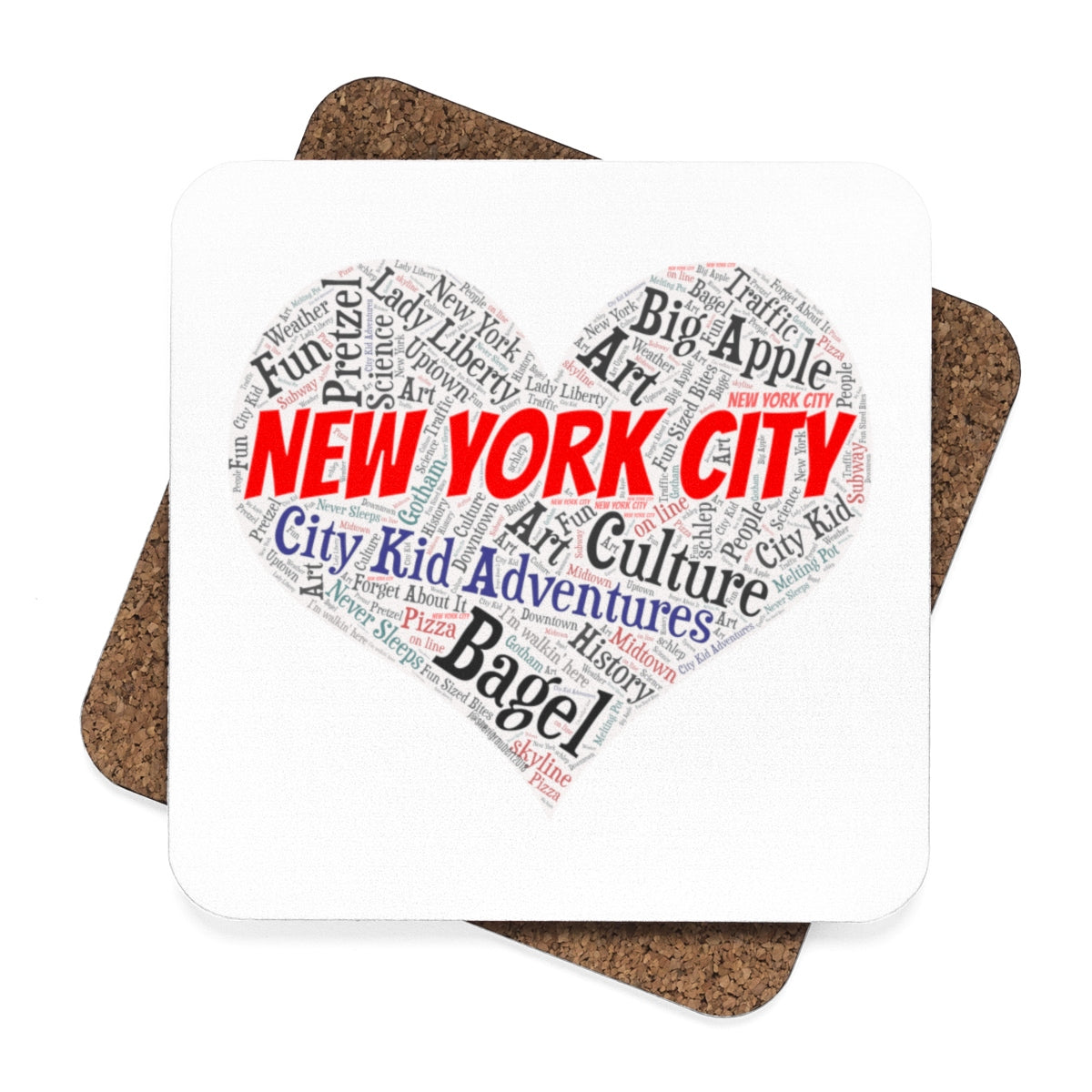 """I Heart New York"" Square Hardboard Coaster Set - 4pcs"