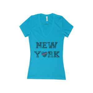 """New York"" Women's Short Sleeve Deep V-Neck Tee"