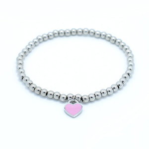 """New York Forever Love"" Charm on  Beaded Bracelet"