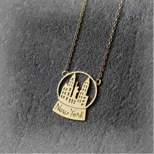 Cute Gold or Silver New York Snow Globe Necklace