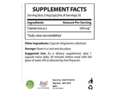triphala supplement facts