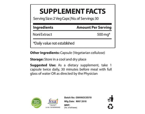 noni supplement facts