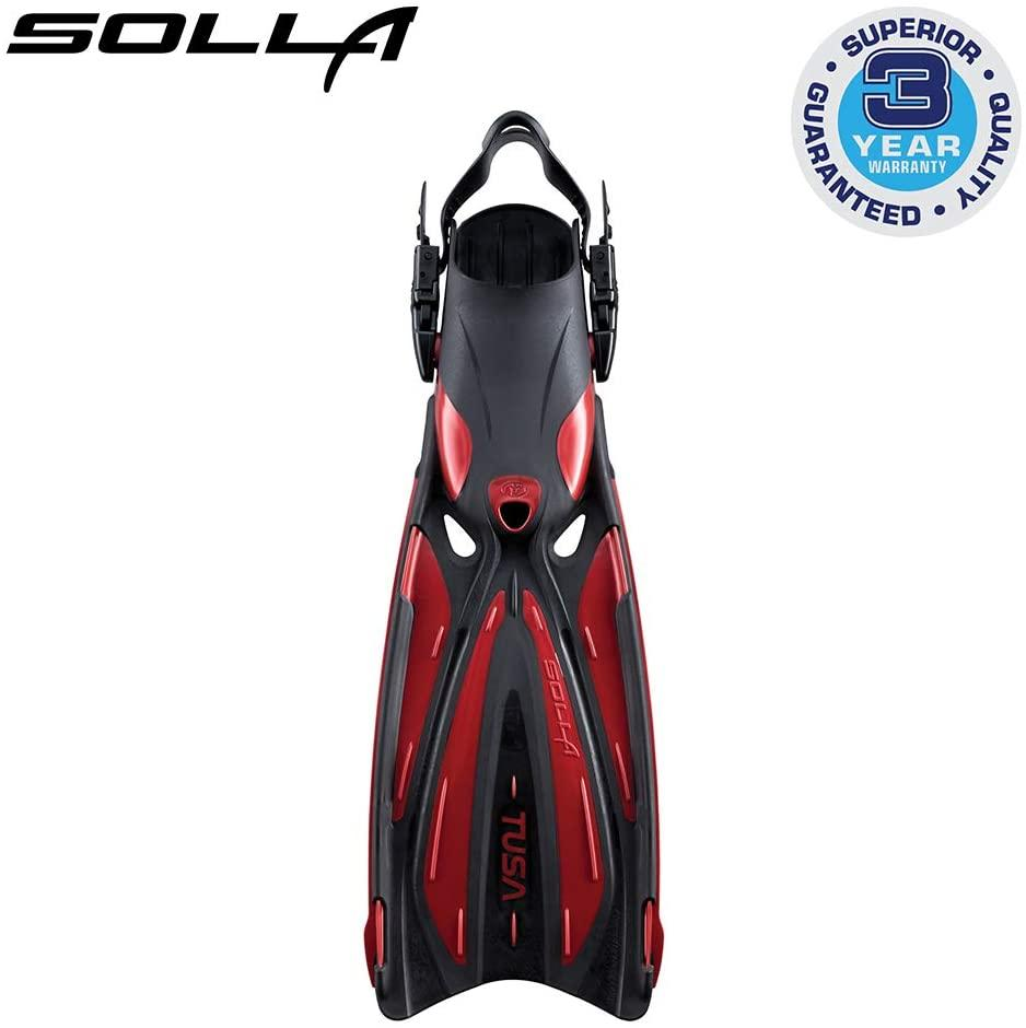 TUSA SF-22 Solla Open Heel Scuba Diving Fins, Medium, Metallic Dark Red