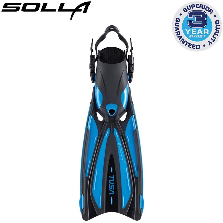 TUSA SF-22 Solla Open Heel Scuba Diving Fins, L-XL Fishtail Blue