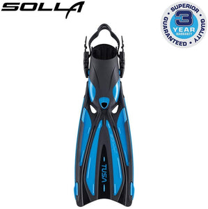 TUSA SF-22 Solla Open Heel Scuba Diving Fins, Small, Fishtail Blue