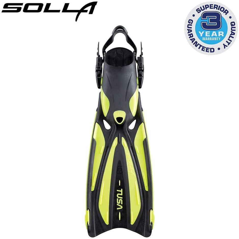 TUSA SF-22 Solla Open Heel Scuba Diving Fins, L-XL, Flash Yellow