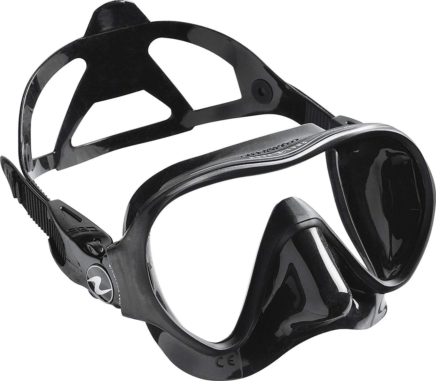 Aqua Lung Linea Single Lens Dive Mask, All Black