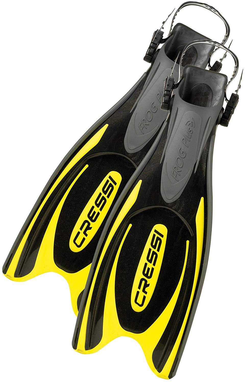 Cressi Adult Powerful Efficient Open Heel Scuba Diving Fins | Frog Plus made in Italy by quality since 1946