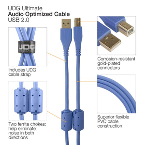 UDG Ultimate Audio Cable USB 2.0 A-B Light Blue Angled