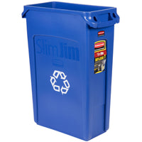 23 GAL BLUE SLIM JIM RECYLING CAN W/VENTING CHANNELS