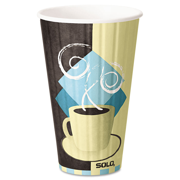 Dart Duo Shield Insulated Paper Hot Cups, 16 oz, Tuscan Chocolate/Blue/Beige, 525/Ct