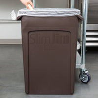 23 GAL SLIM JIM BROWN TRASH CAN VENTED