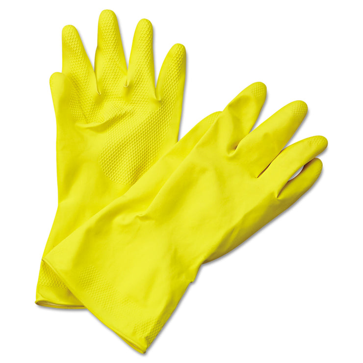 Boardwalk Flock-Lined Latex Cleaning Gloves, X-Large, Yellow, 12 Pairs