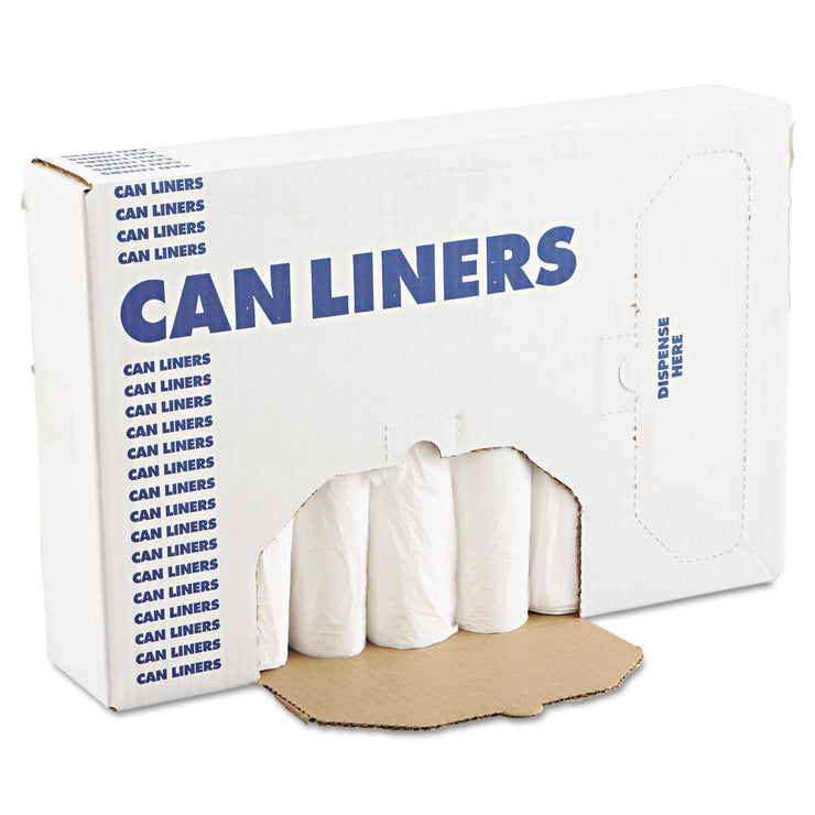 Boardwalk EH-Grade Can Liners, 24 x 32, 12-16gal, .4mil, White, 25 Bags/Roll, 20 Rolls/CT