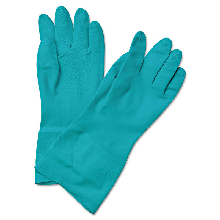 Boardwalk Flock-Lined Nitrile Gloves, Small, Green, 1 Dozen