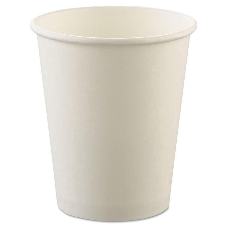 Dart Uncoated Paper Cups, Hot Drink, 8oz, White, 1000/Carto n