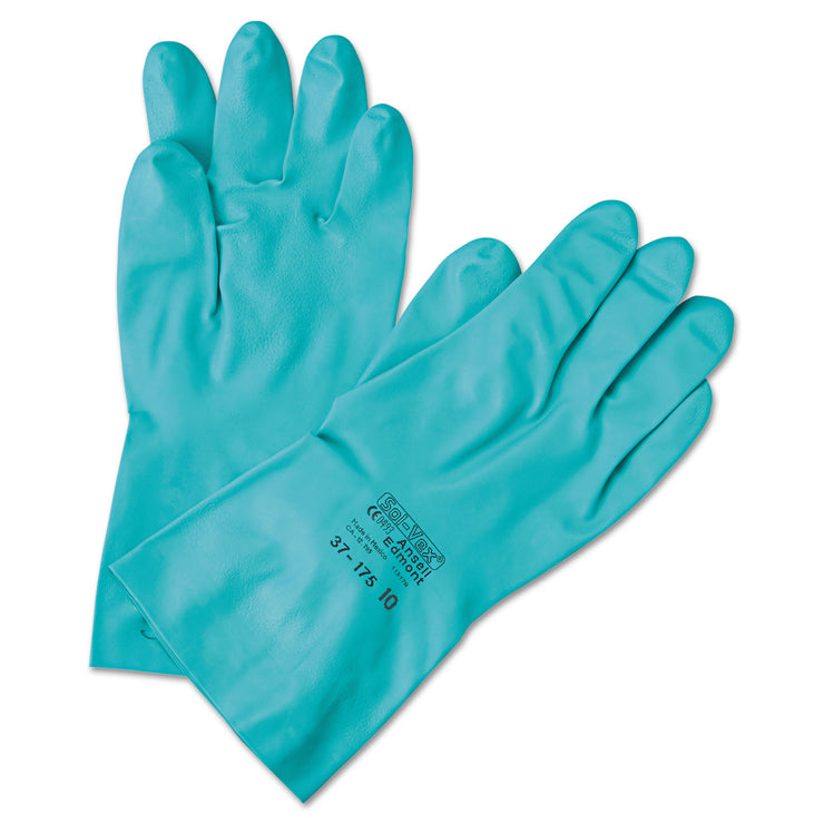 AnsellPro Sol-Vex Sandpatch-Grip Nitrile Gloves, Green, Size 8