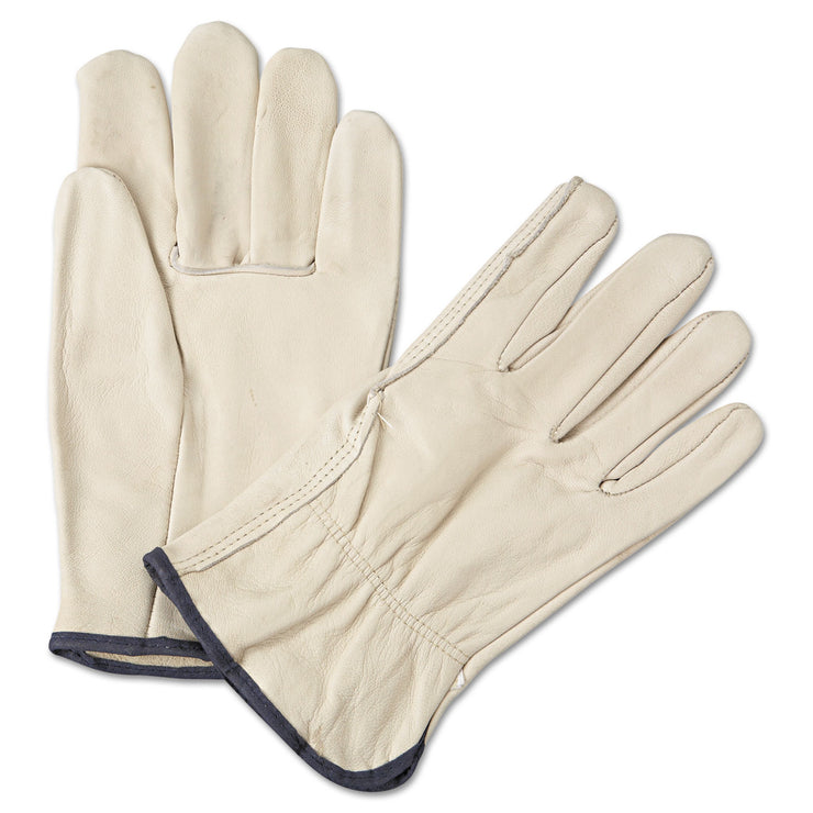 Anchor Brand 4000 Series Leather Driver Gloves, White, Large, 12 Pairs