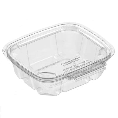 8oz TAMPER EVIDENT CLEAR PET CONTAINER BILINGUAL 300/CS W/FLAT TEAR AWAY LID