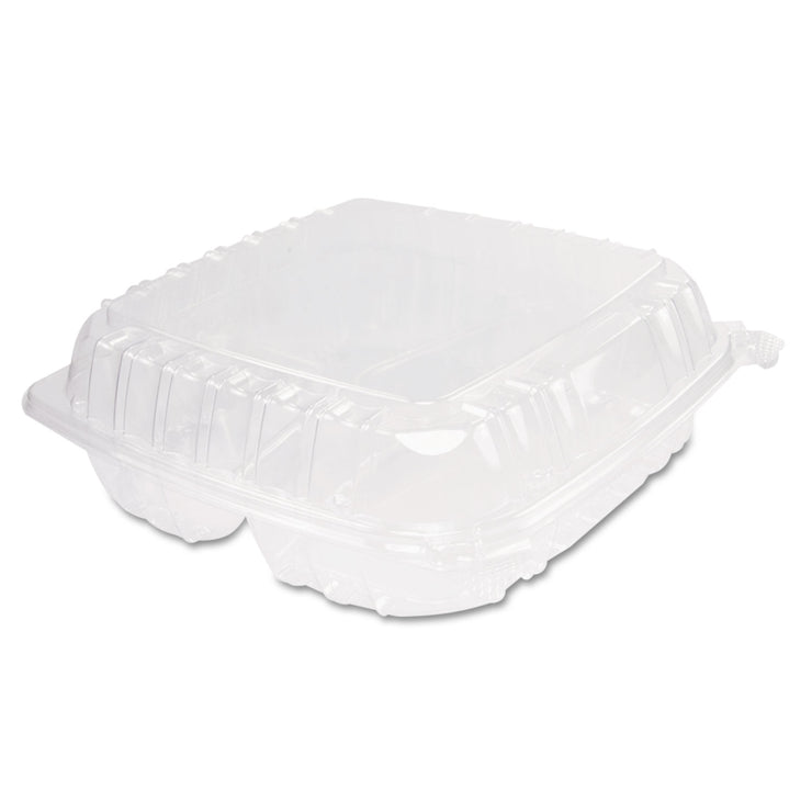 Dart ClearSeal Plastic Hinged Container, 3-Comp, 9 x 9-1/2 x 3, 100/Bag, 2 Bags/CT