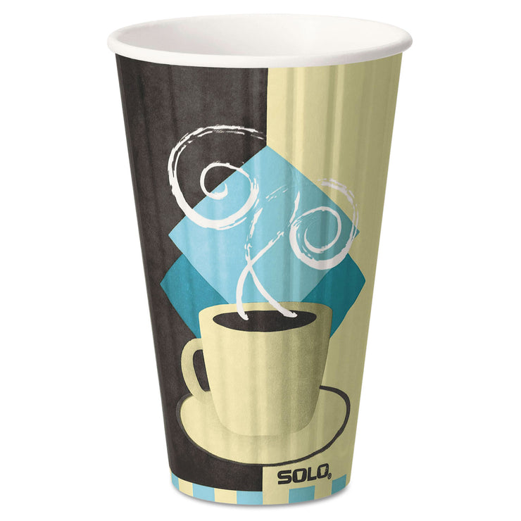 Dart Duo Shield Insulated Paper Hot Cups, 16oz, Tuscan, Chocolate/Blue/Beige, 35/Pk