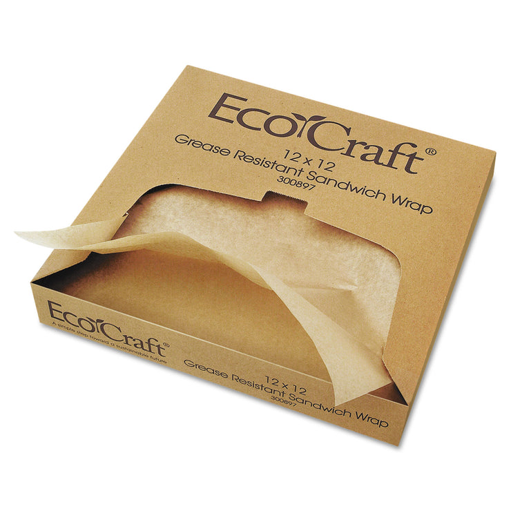 Bagcraft EcoCraft Grease-Resistant Paper Wrap/Liner, 12 x 12, 1000/Box, 5 Boxes/Carton