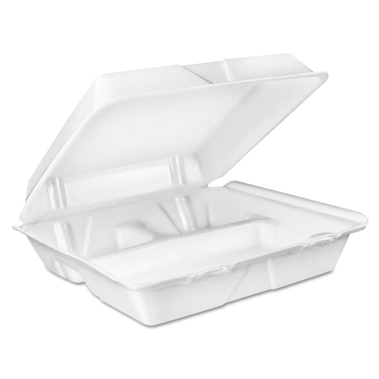 Dart Large Foam Carryout, Food Container, 3-Compartment, White, 9-2/5x9x3