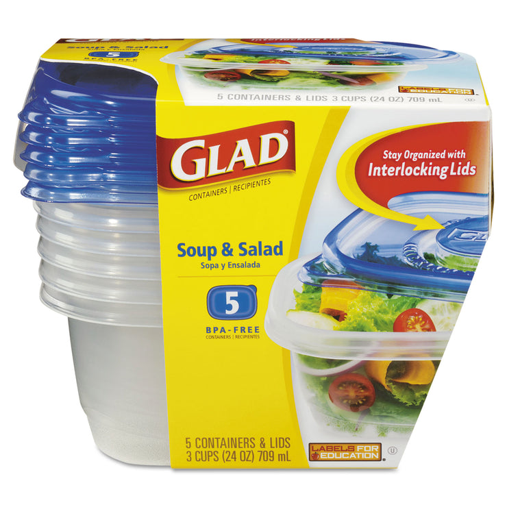 Glad Soup and Salad Food Storage Containers 24 oz, 5/Pack