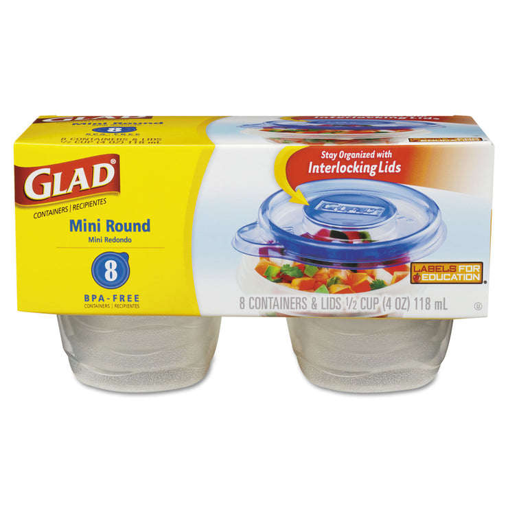 Glad Mini Round Food Storage Containers, 4 oz, 8/Pk, 12 Pk/Ctn