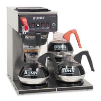 BUNN CWTF-3 Three Burner Automatic Coffee Brewer, Stainless Steel, Black