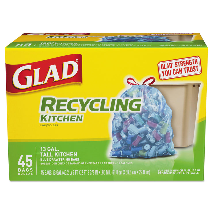 Glad Recycling Tall Kitchen Drawstring Bags, Blue, .90 mil, 13 gal, 45/Box
