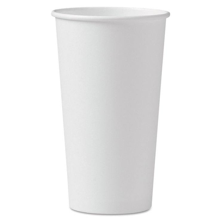 Dart Polycoated Hot Paper Cups, 20 oz, White, 600/Carto n